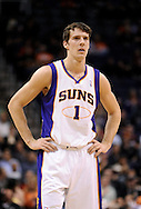 Mar. 1, 2013; Phoenix, AZ, USA; Phoenix Suns guard Goran Dragic (1) stands on the court in the game against the Atlanta Hawks at US Airways Center. The Suns defeated the Hawks 92-87. Mandatory Credit: Jennifer Stewart-USA TODAY Sports
