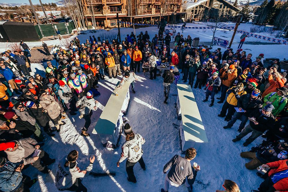 Team Hostel X vs. Team Local in round one of the 2015 Gelande Quaff in Teton Village, Wyoming.