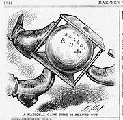 "Thomas Nast political cartoon on voting ""A National Game that is Played Out"" (kicking around the ballot box) politics/government from 1876 Harper's Weekly.Harper's Weekly, December 23, 1876 Election"