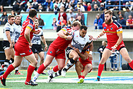 Mason Caton-Brown of Toronto Wolfpack  on the attack against London Broncos during the Super 8s Qualifiers Million Pound Game at Lamport Stadium, Toronto, Canada<br /> Picture by Stephen Gaunt/Focus Images Ltd +447904 833202<br /> 07/10/2018