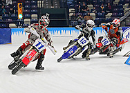 Kevin Anderson (11) of Cambridge, Minnesota, Cole Anderson (12) of Cambridge, Minnesota, and Mark Cheza (16) of Clio, Michigan come out of turn two during a Manufacturers World Cup Bikes heat at the 35th Annual World Championship ICE Racing Series held at the Cedar Rapids Ice Arena at 1100 Rockford Road SW in Cedar Rapids on Saturday evening January 15, 2011.