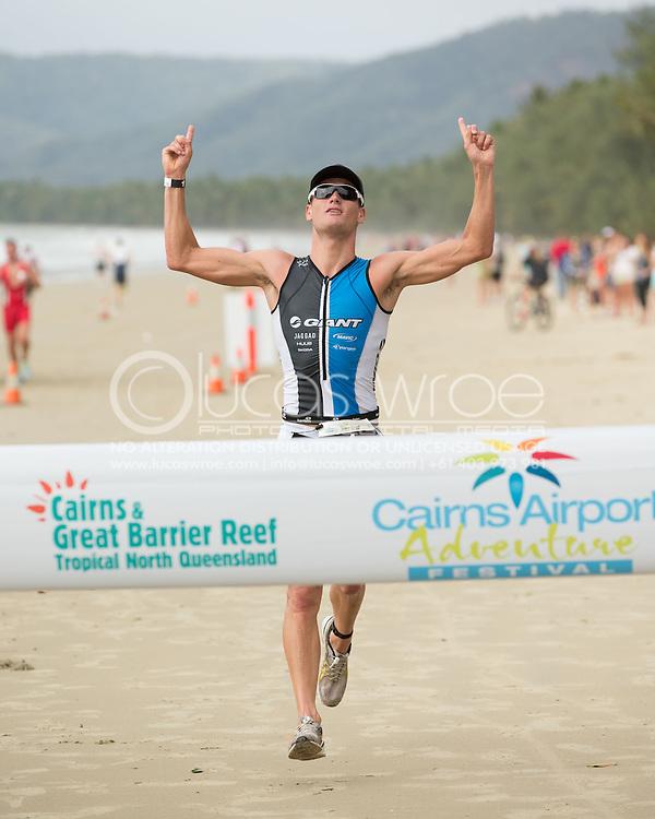 Clayton Fettell (AUS), June 1, 2014 - TRIATHLON : Coral Coast 5150 Triathlon, Cairns Airport Adventure Festival, Four Mile Beach, Port Douglas, Queensland, Australia. Credit: Lucas Wroe