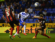 Reading's Jordan Obita shoots at goal during the Sky Bet Championship match between Reading and Bournemouth at the Madejski Stadium, Reading, England on 14 April 2015. Photo by Mark Davies.