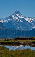 The Wetterhorn seen reflected in a pond on the Niederhorn in the Swiss Alps, Berner Oberland, Switzerland.