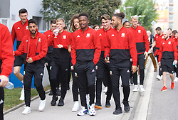 BRATISLAVA, SLOVAKIA - Thursday, October 10, 2019: Wales' Neil Taylor, Rabbi Matondo and Tyler Roberts during a pre-match team walk near the Hotel NH Bratislava Gate One ahead of the UEFA Euro 2020 Qualifying Group E match between Slovakia and Wales. (Pic by David Rawcliffe/Propaganda)