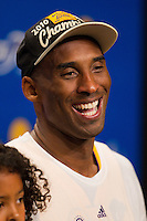17 June 2010: Guard Kobe Bryant of the Los Angeles Lakers speaks to the media after the Lakers defeat the Boston Celtics 83-79 and win the NBA championship in Game 7 of the NBA Finals at the STAPLES Center in Los Angeles, CA.