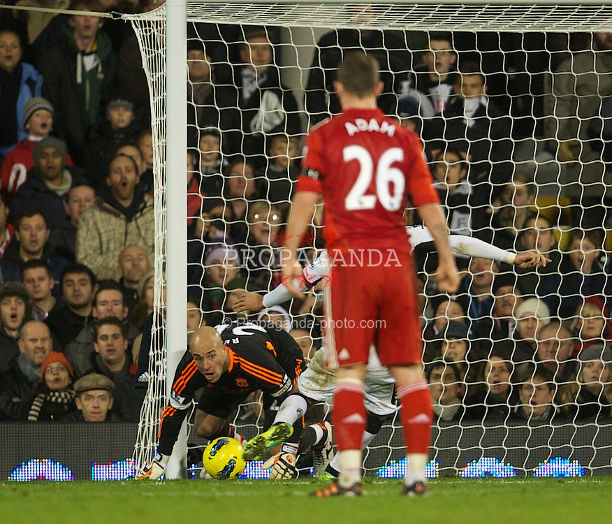 LONDON, ENGLAND - Monday, December 5, 2011: Liverpool's goalkeeper Jose Reina is helpless to prevent Fulham's Clint Dempsey scoring the only goal of the match during the Premiership match at Craven Cottage. (Pic by David Rawcliffe/Propaganda)
