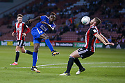 Leicester City midfielder Demarai Gray (7) shot is deflected off Sheffield United defender Jack O'Connell (5)  during the EFL Cup match between Sheffield Utd and Leicester City at Bramall Lane, Sheffield, England on 22 August 2017. Photo by Simon Davies.