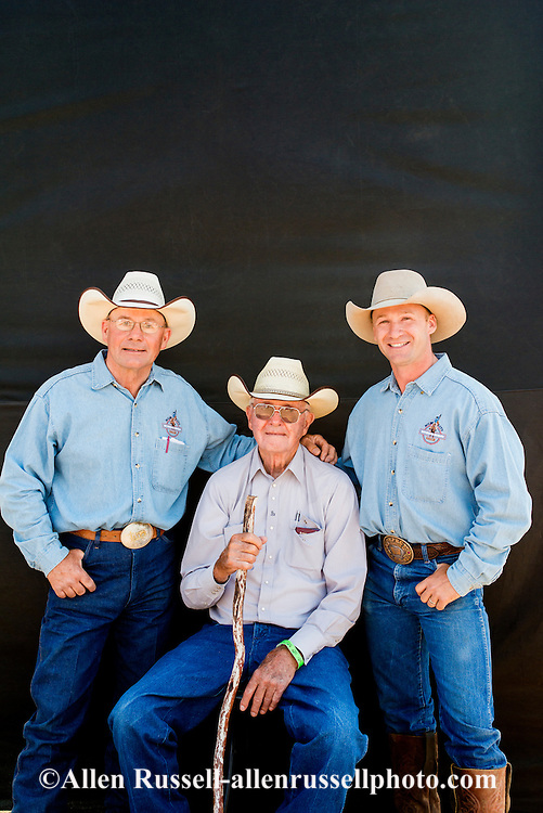 Three generations, Sonny Linger, son Pat, grandson Ty, Past, current, next, chute bosses, Miles City Bucking Horse Sale, Montana, Sonny also chute boss/stock foreman National Finals Rodeo, member National Cowboy Hall of Fame and Pro Rodeo Hall of Fame, RCA cowboy 1947 to 1961.