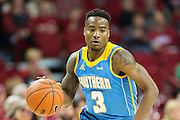 FAYETTEVILLE, AR - NOVEMBER 13:  Treiun Banks #3 of the Southern University Jaguars dribbles down the court during a game against the Arkansas Razorbacks at Bud Walton Arena on November 13, 2015 in Fayetteville, Arkansas.  The Razorbacks defeated the Jaguars 86-68.  (Photo by Wesley Hitt/Getty Images) *** Local Caption *** Treiun Banks