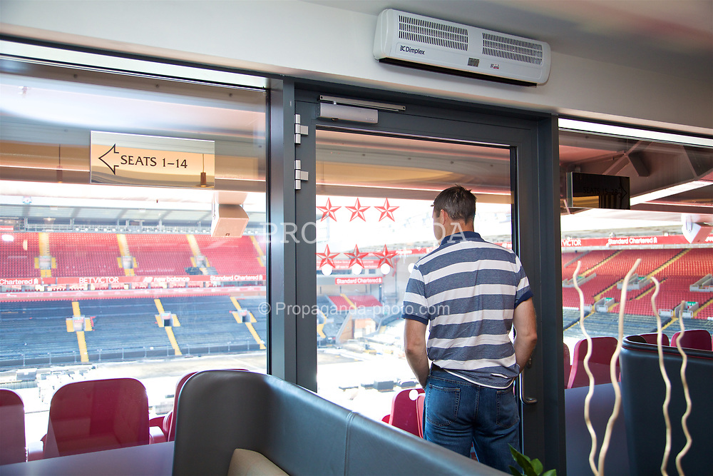 LIVERPOOL, ENGLAND - Sunday, June 18, 2017: Barry Cowan looks out from the boardroom on a visit Anfield during Day Four of the Liverpool Hope University International Tennis Tournament 2017. (Pic by David Rawcliffe/Propaganda)