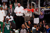 17 June 2010: Forward Kevin Garnett of the Boston Celtics watches a Los Angeles Lakers freethrow go in the basket during the second half of the Lakers 83-79 championship victory over the Celtics in Game 7 of the NBA Finals at the STAPLES Center in Los Angeles, CA.