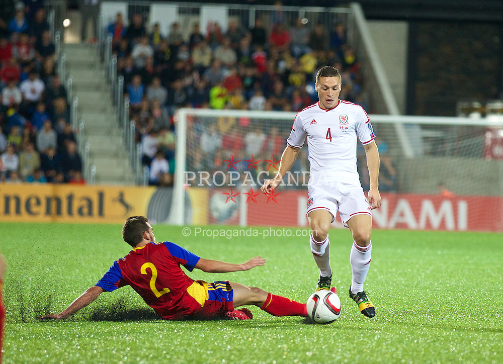 ANDORRA LA VELLA, ANDORRA - Tuesday, September 9, 2014: Wales' James Chester in action against Andorra during the opening UEFA Euro 2016 qualifying match at the Camp d'Esports del M.I. Consell General. (Pic by David Rawcliffe/Propaganda)