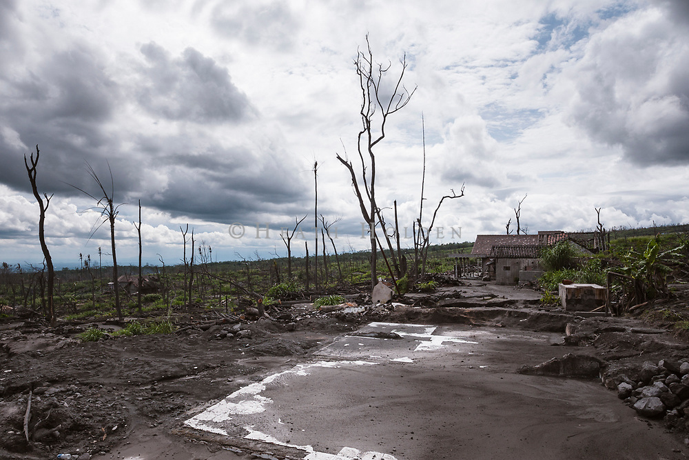 Destruction from the 2010 Gunung Merapi eruption near Kaliurang