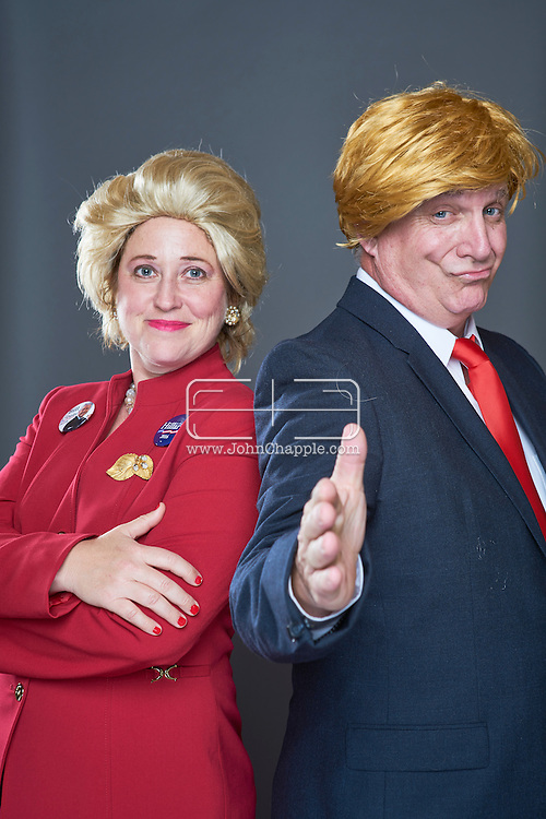 February 22, 2016. Las Vegas, Nevada.  The 22nd Reel Awards and Tribute Artist Convention in Las Vegas. Celebrity lookalikes from all over the world gathered at the Golden Nugget Hotel for the annual event. Pictured is  Donald Trump lookalike, Kevin Hartman with Hillary Clinton lookalike Darci Davis and Obama Lookalike, Michael Bryant.<br /> Copyright John Chapple / www.JohnChapple.com /