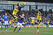 Tommy Lee (1) of Chesterfield FC takes high ball during the Sky Bet League 1 match between Chesterfield and Fleetwood Town at the b2net stadium, Chesterfield, England on 26 March 2016. Photo by Ian Lyall.