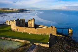 Aerial view of Blackness Castle ( setting for Outlander ) beside Firth of Forth river in West Lothian Scotland, UK