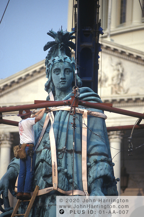 FREEDOM STATUE THAT SITS AT THE TOP OF THE US CAPITOL, IS TAKEN DOWN FOR REPAIR.