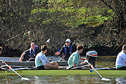 London, UK,  2014 Varsity, Annual Tideway Week. CUBC, Cambridge University Boat Club, Blue Boat, Steve TRAPMORE, Chief Coach (right), explains a point, to the crew, watched on by Roger STEPHENS, Chairman (left), from the coaching launch. 09:55:47  Tuesday  01/04/2014  : [Mandatory Credit Intersport Images]<br /> CUBC. Bow. Mike THORP, 2. Luke JUCKETT, 3. Ivo DAWKINS, 4. Steve DUDEK, 5. Helge GRUETJEN, 6. Matthew JACKSON, 7. Joshua HOOPER, Stroke, Henry HOFFSTOT and cox Ian MIDDLE TON