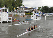 Henley, Great Britain. Colgate University, USA in Black, after winning their heat against Trinity Coll. Dublin, IRL [stripes]   in a a heat of the Prince Albert Challenge Cup, at  Henley Royal Regatta. Henley Reach, England 04.07.2007 [Mandatory credit Peter Spurrier/ Intersport Images]. Rowing Courses, Henley Reach, Henley, ENGLAND . HRR.