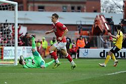 Caption Correction. Bristol City's Matt Smith celebrates his goal.  - Photo mandatory by-line: Dougie Allward/JMP - Mobile: 07966 386802 - 14/02/2015 - SPORT - Football - Bristol - Ashton Gate - Bristol City v Sheffield United - Sky Bet League One