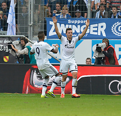 28.09.2013, Rhein Neckar Arena, Sinsheim, GER, 1. FBL, TSG 1899 Hoffenheim vs Schalke 04, 7. Runde, im Bild Marco H¬öger FC Schalke 04 setzt sich alleine durch auf dem Weg zum 1:3 TOR Aktion Torjubel, Jubel, Freude, Emotion mit Kevin-Prince Boateng FC Schalke 04 (links) // during the German Bundesliga 7th round match between TSG 1899 Hoffenheim and Schalke 04 at the Rhein Neckar Arena, Sinsheim, Germany on 2013/09/28. EXPA Pictures © 2013, PhotoCredit: EXPA/ Eibner/ Michael Weber<br /> <br /> ***** ATTENTION - OUT OF GER *****
