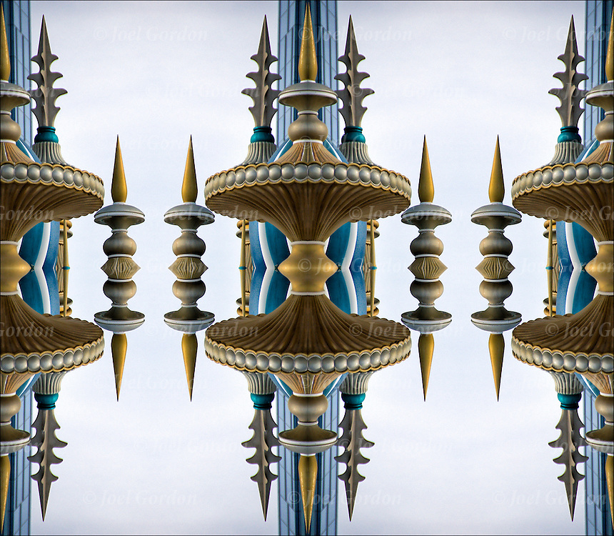 Mirrored minarets illusion of floating in space.<br /> <br /> Image has been duplicated, flipped, altered and manipulated creating illusion