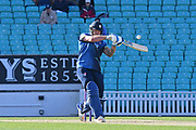 Matt Coles (Kent) hits a huge six out of the ground during the Royal London 1 Day Cup match between Surrey County Cricket Club and Kent County Cricket Club at the Kia Oval, Kennington, United Kingdom on 12 May 2017. Photo by Jon Bromley.
