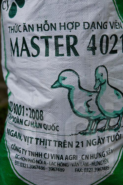 Agro-industry nourishment bag for ducks. Tam Dao, Vietnam, Asia