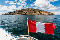 Taquile Island Titicaca Lake in the peruvian Andes at Puno Peru