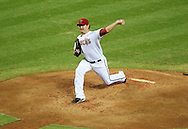 Jul. 15 2011; Phoenix, AZ, USA; Arizona Diamondbacks pitcher Joe Saunders (34) delivers a pitch against the Los Angeles Dodgers at Chase Field. The Dodgers defeated the Diamondbacks 6-4. Mandatory Credit: Jennifer Stewart-US PRESSWIRE.