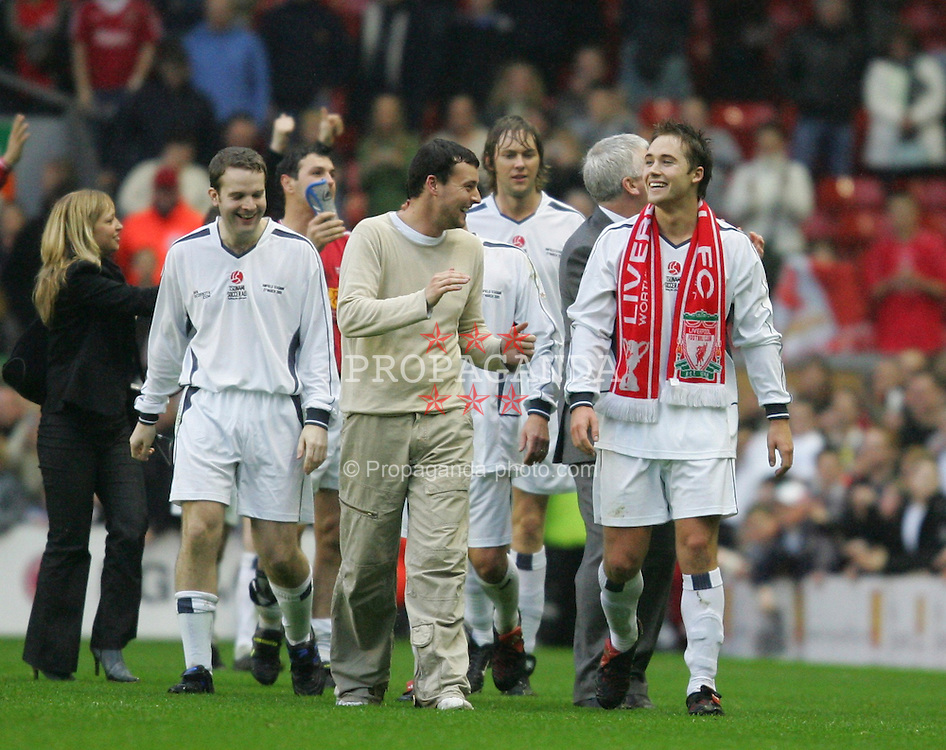 LIVERPOOL, ENGLAND - SUNDAY MARCH 27th 2005: Celebrity XI's Stephen Fletcher, James Redmond and Marcus Patrick during the Tsunami Soccer Aid match at Anfield. (Pic by David Rawcliffe/Propaganda)
