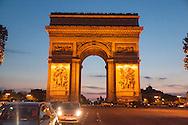 France. Paris. 8th district. arc de triomphe, place de l'etoile and Champs Elysees