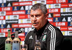 DINARD, FRANCE - Monday, June 13, 2016: Wales' assistant manager Osian Roberts during a press conference in the media centre at the team base in Dinard during the UEFA Euro 2016 Championship. (Pic by David Rawcliffe/Propaganda)