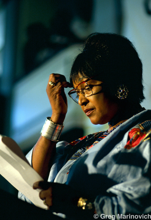 Winnie Mandela, speaks in Johannesburg, South Africa.