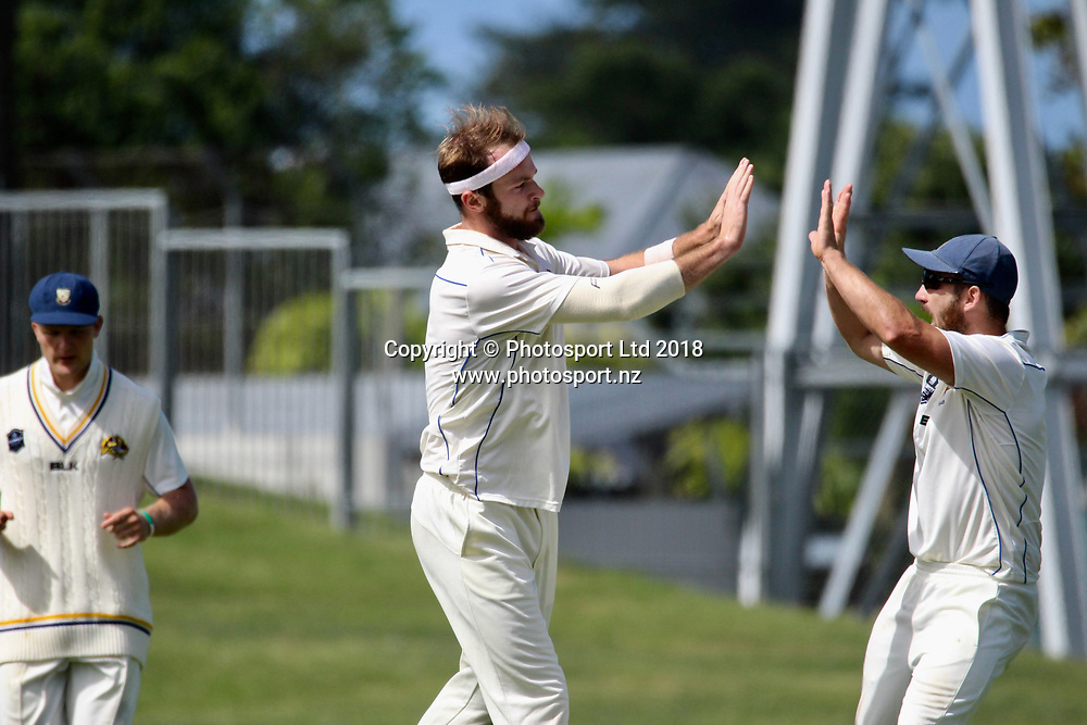 Otago Volts Michael Rae celebrates the dismissal of Ben Smith.<br /> Central Stags v Otago Volts - Day 3, Round 6 of the Plunket Shield cricket series at McLean Park, Napier, New Zealand.<br /> 3 March 2018.<br /> Copyright photo: Margo Butcher / www.photosport.nz