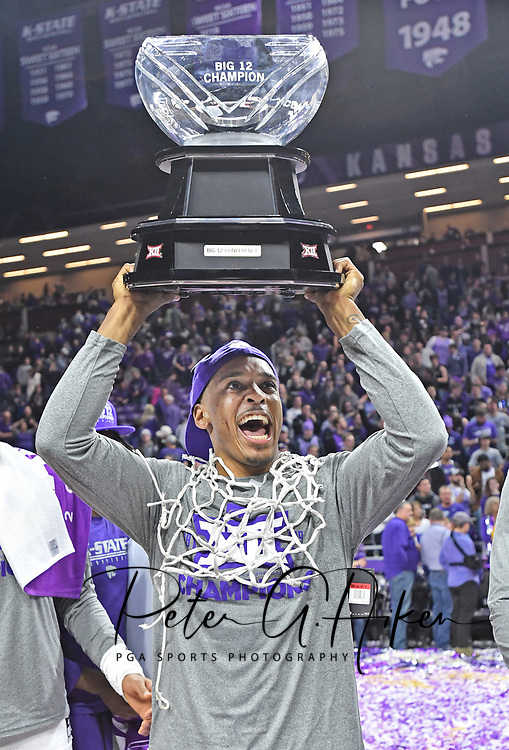 MANHATTAN, KS - MARCH 09:  Barry Brown Jr. #5 of the Kansas State Wildcats celebrates after winning the Big 12 Regular Season Championship on March 9, 2019 at Bramlage Coliseum in Manhattan, Kansas.  (Photo by Peter G. Aiken/Getty Images) *** Local Caption *** Barry Brown Jr.