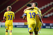 AFC Wimbledon midfielder Tom Soares (19) and AFC Wimbledon defender Rod McDonald (26) \ce 12 during the EFL Trophy match between Charlton Athletic and AFC Wimbledon at The Valley, London, England on 4 September 2018.