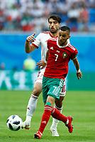 Karim Ansarifard (Iran) and Hakim Ziyach (Morocco)<br /> Saint Petersburg 15-06-2018 Football FIFA World Cup Russia  2018 <br /> Morocco - Iran / Marocco - Iran <br /> Foto Matteo Ciambelli/Insidefoto