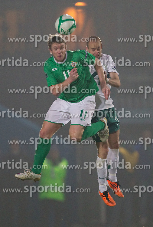 Grant McCann of Northern Ireland vs Miso Brecko of Slovenia during EURO 2012 Quaifications game between National teams of Slovenia and Northern Ireland, on March 29, 2011, in Windsor Park Stadium, Belfast, Northern Ireland, United Kingdom. (Photo by Vid Ponikvar / Sportida)
