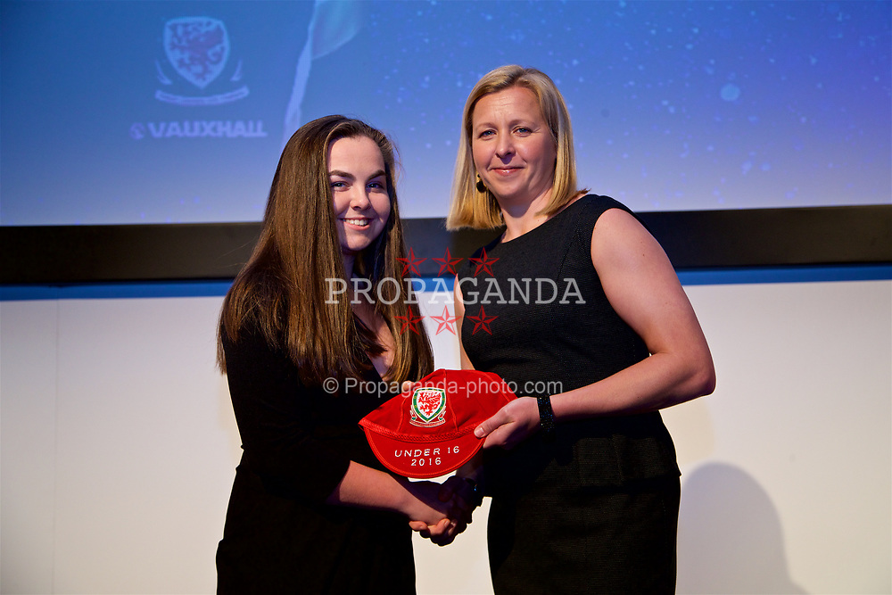 NEWPORT, WALES - Saturday, May 27, 2017: Jasmin Rowley receives her Under-16 Wales cap from Wales women's team manager Jayne Ludlow at the Celtic Manor Resort. (Pic by David Rawcliffe/Propaganda)