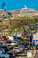Traffic on West Side Highway, New York, New York USA.