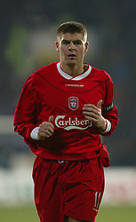 SOFIA, BULGARIA - Wednesday, March 3, 2004: Liverpool's Steven Gerrard in action against Levski Sofia during the UEFA Cup 4th Round 2nd Leg match at the Vasil Levski Stadium. (Pic by David Rawcliffe/Propaganda)