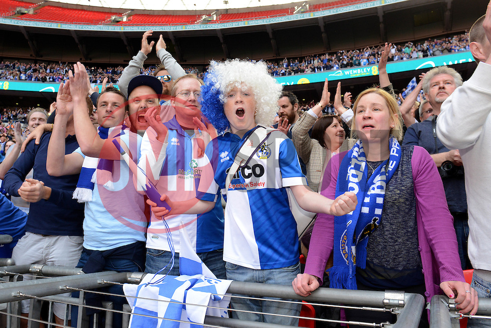 Bristol Rovers fans celebrate  - Photo mandatory by-line: Dougie Allward/JMP - Mobile: 07966 386802 - 17/05/2015 - SPORT - football - London - Wembley Stadium - Bristol Rovers v Grimsby Town - Vanarama Conference Football