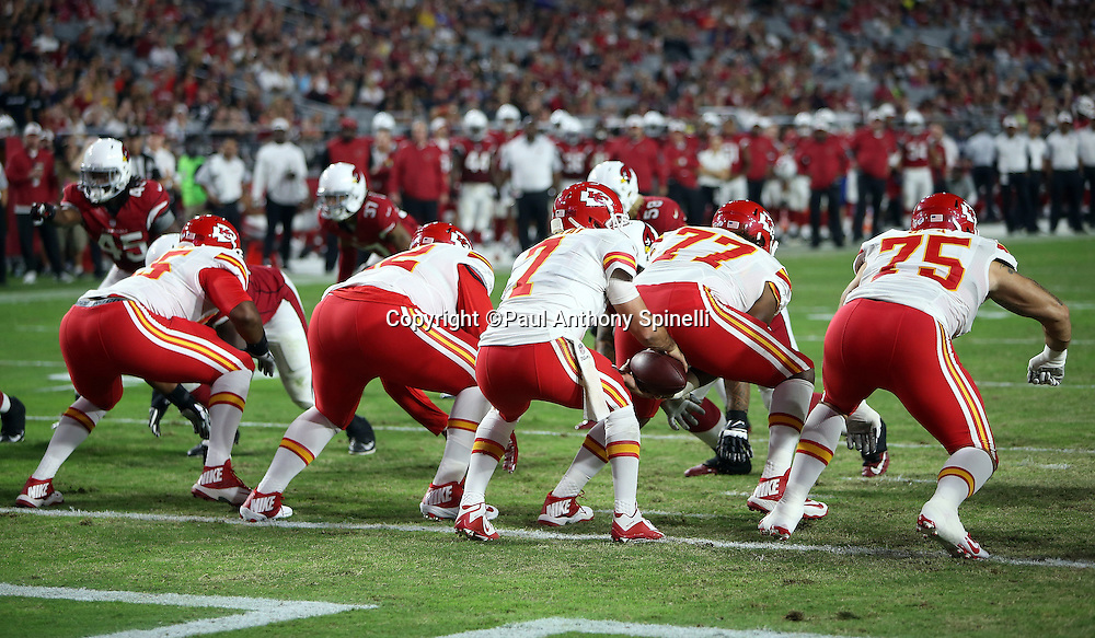 Kansas City Chiefs quarterback Aaron Murray (7) takes a snap at his own goal line during the 2015 NFL preseason football game against the Arizona Cardinals on Saturday, Aug. 15, 2015 in Glendale, Ariz. The Chiefs won the game 34-19. (©Paul Anthony Spinelli)
