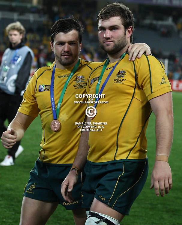 AUCKLAND, NEW ZEALAND - OCTOBER 21, Adam Ashley-Cooper with Ben McCalman during the 2011 IRB Rugby World Cup 3rd &amp; 4th playoff match between Australia and Wales at Eden Park on October 21, 2011 in Auckland, New Zealand<br /> Photo by Steve Haag / Gallo Images