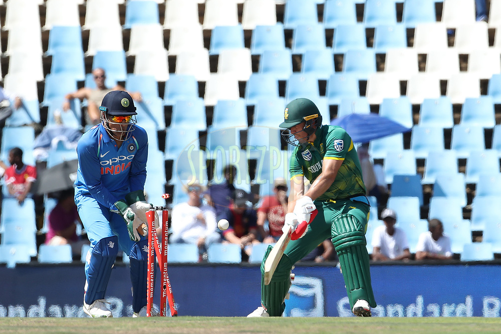 AB de Villiers of South Africa is bowled by Yuzvendra Chahal of India  during the 6th One Day International match between South Africa and India held at Supersport Park Cricket Ground in Centurion on the 16th Feb 2018 <br /> <br /> Photo by Ron Gaunt / BCCI / SPORTZPICS