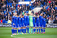 Football - 2016 / 2017 Sky Bet [EFL] Championship - Cardiff City vs. Brighton & Hove Albion<br /> <br /> Cardiff City line up for a minute's silence in memory of  those killed in this week's air crash---, at Cardiff City Stadium.<br /> <br /> COLORSPORT/WINSTON BYNORTH