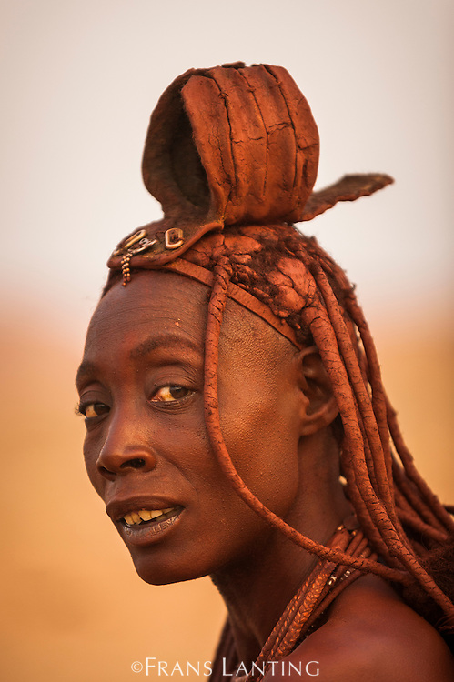 Himba woman with Erembe headdress signifying married status, Kaokoland, Namibia