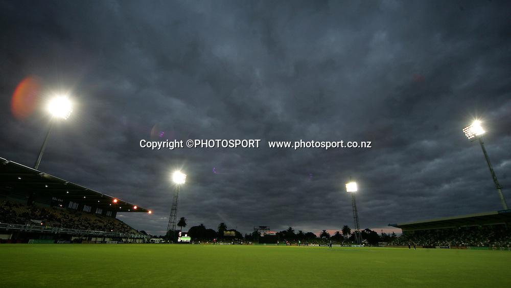 Mclean park under lights. New Zealand Black Caps v Bangladesh. 1st ODI. McLean Park, Napier. Friday 05 February 2010  Photo: John Cowpland/PHOTOSPORT